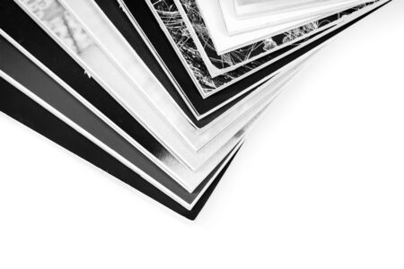 mono: Mono magazines up close shot on white background Stock Photo