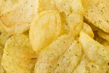 titbits: Prepared potato chips snack closeup viewas a background Stock Photo