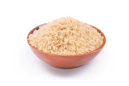 arroz: plato de arroz aislado en un fondo blanco Foto de archivo