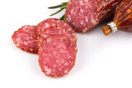 italian salami: Sliced italian salami isolated on a white background