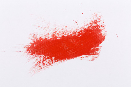 oilpaint: Red stroke of the paint brush on white paper Stock Photo