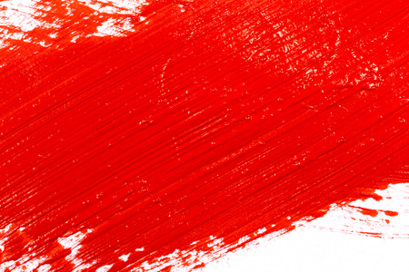 color paint: Red stroke of the paint brush on white paper Stock Photo