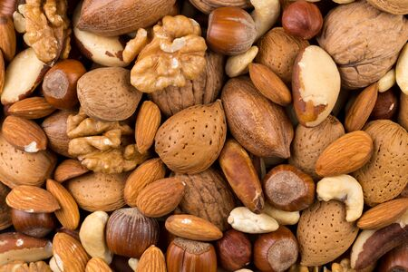 Variety of Mixed Nuts as a background - close up image Stok Fotoğraf