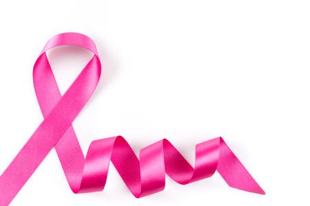 pechos: Cinta rosada del c�ncer de pecho aislado en fondo blanco Foto de archivo