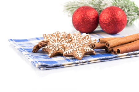 sugarcoat: Hand-made Christmas gingerbreads isolated on white background
