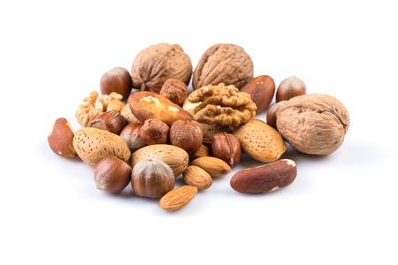 Variety of Mixed Nuts Isolated on White Background Stok Fotoğraf