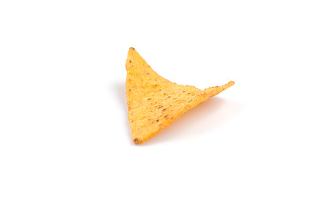 corn chip: mexican corn nachos chips, isolated on white background Stock Photo