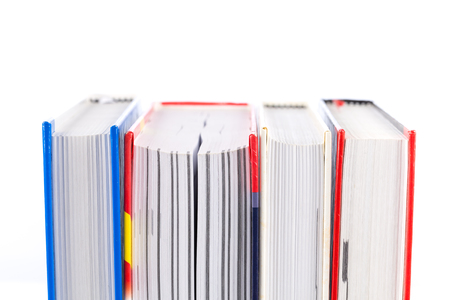 new books: stack of new books close up Stock Photo