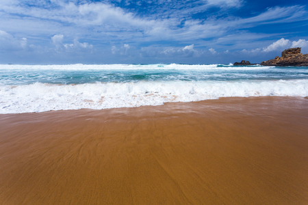 ocean waves: Atlantic ocean beach with waves and sand