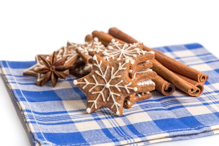 Hand-made Christmas gingerbreads isolated on white background