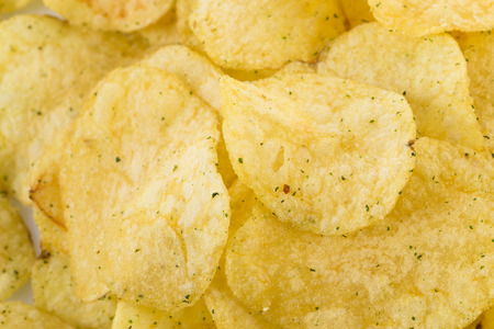 prepared potato: Prepared potato chips snack closeup