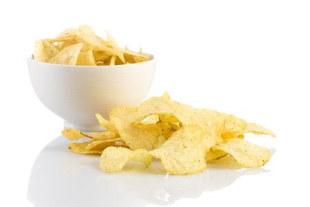 titbits: Prepared potato chips snack closeup view on white background