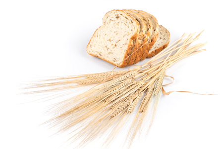 black bread: fresh bread and wheat on white background