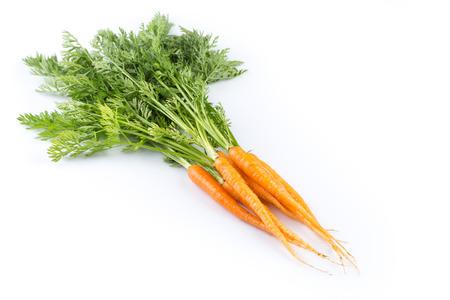 zanahoria: zanahorias frescas con hojas verdes aisladas sobre fondo blanco. vegetal. comida