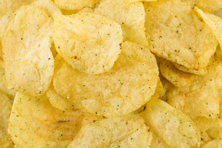 prepared: Prepared potato chips snack closeup viewas a background Stock Photo