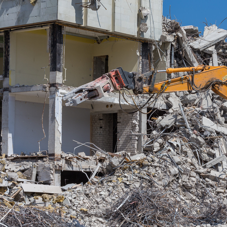 demolished: Pieces of Metal and Stone are Crumbling from Demolished Stock Photo