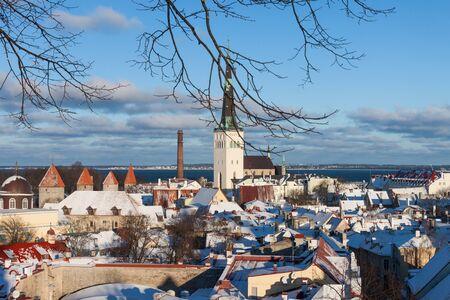 tallinn: Tallinn city panoramic winter landscape, Estonia Stock Photo
