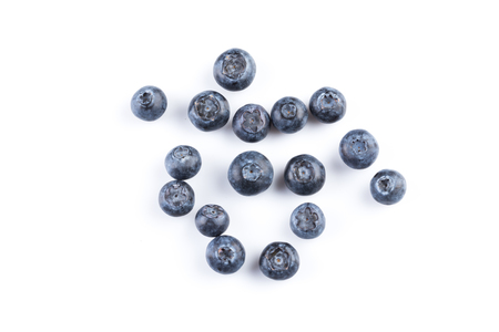 blue: Group of fresh juisy blueberries isolated on white background