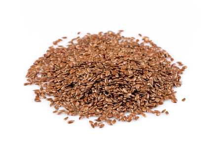 lose up: Сlose up of flax seeds isolated on white background