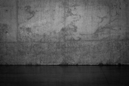 empty space: Grungy dark concrete wall and wet floor for background texture