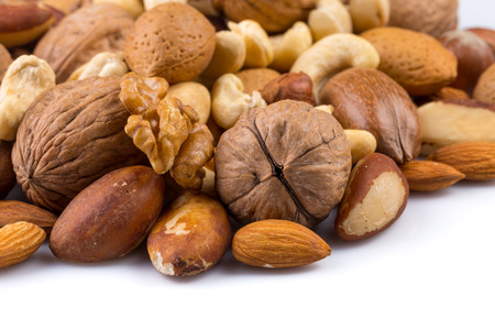 Variety of Mixed Nuts Isolated on White Background Archivio Fotografico