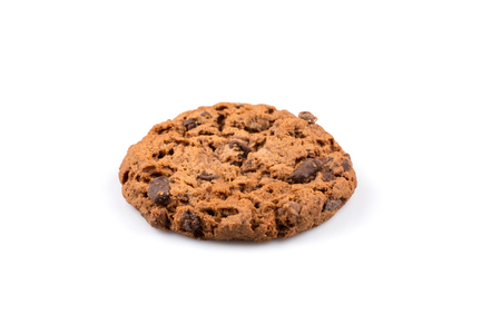 chocolate biscuit: Chocolate chip cookie isolated on a white background