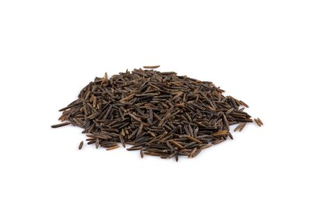 processed grains: Close up image of a heap of wild rice on white background Stock Photo