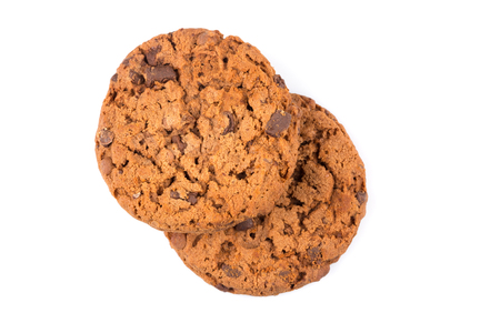 chocolate cookies: Chocolate chip cookies isolated on a white background