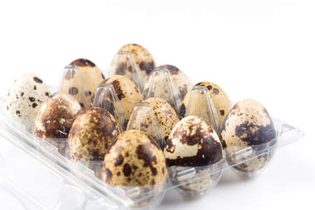 Quail eggs are isolated on a white background Zdjęcie Seryjne