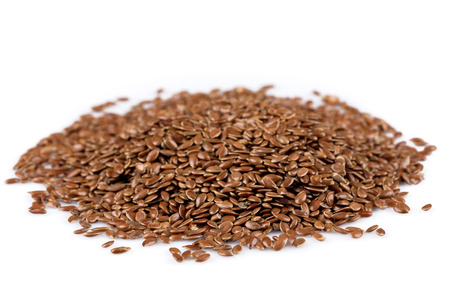 lose up: ?lose up of flax seeds isolated on white background Stock Photo