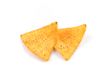 tex mex: mexican corn nachos chips, isolated on white background Stock Photo
