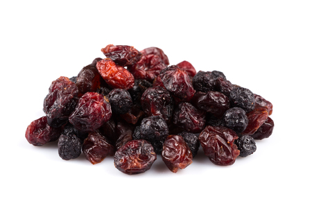 sweetened: Dried cranberries, cherries and blueberries on white background Stock Photo