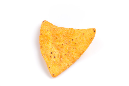 nacho chip: mexican corn nachos chips, isolated on white background Stock Photo