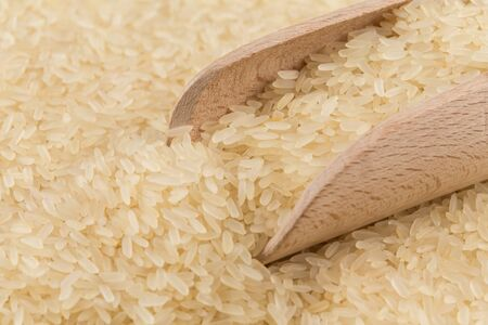 puffed: spoon of rice on puffed rice cereal background close up Stock Photo