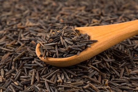 processed grains: Wild brown rice in wooden spoon close up Stock Photo