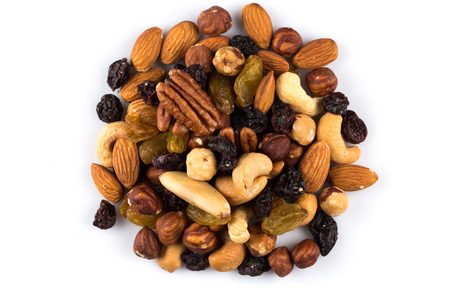frutas secas: Mix nuts and dry fruits  on a white background