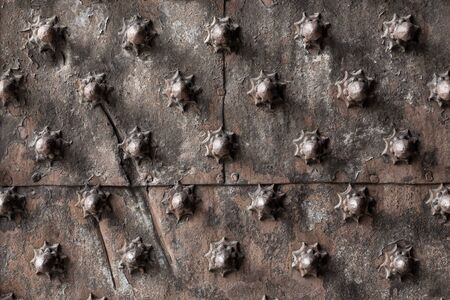 spiked: Ancient wooden spiked door detail in Genoa, Italy Stock Photo