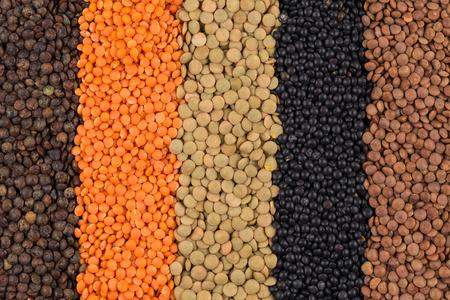 leguminosas: legumbres Vaus - rojo, negro, amarillo, verde, lentejas