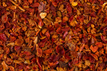 Crushed red chili pepper for background texture