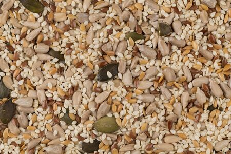additional: Healthy seeds mix close up shot for background Stock Photo