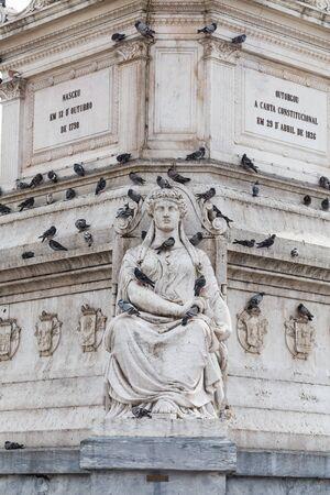 dom: Statue of Dom Pedro IV at Rossio Square, Lisbon, Portugal