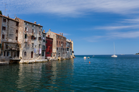during the day: Medieval City of Rovinj during day, Croatia Stock Photo