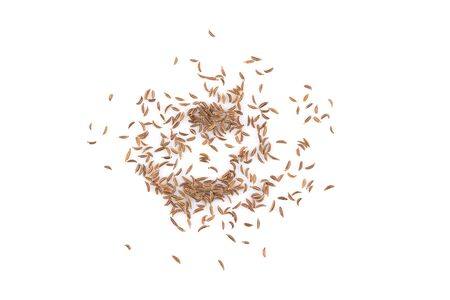 caraway: Pile of dry caraway seeds Isolated on white background