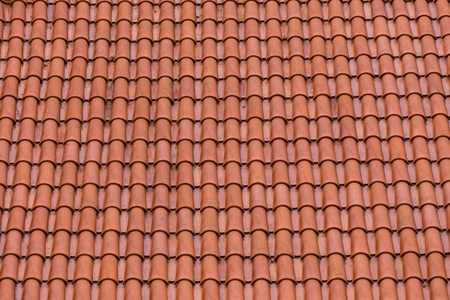 red clay: Closeup of the red clay roof tiles as a background Stock Photo