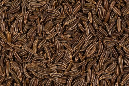 caraway: Pile of dry caraway seeds  as a background Stock Photo