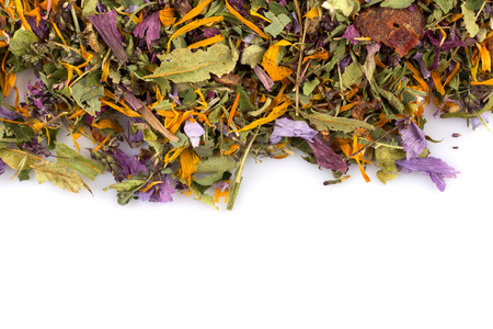 rooibos: Dried herbal flower tea leaves over white background Stock Photo