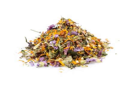 Dried herbal flower tea leaves over white background Standard-Bild