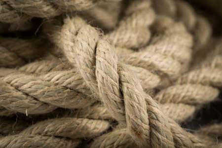 frayed: Close-up of an old frayed boat rope as a background Stock Photo