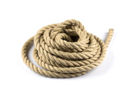 Twisted thick rope isolated on white background