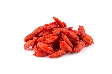 lycium: Chinese goji berries close up on white background